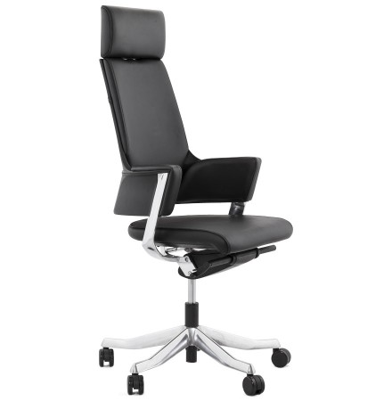 Fauteuil de bureau ergonomique VIP en cuir noir - Alterego Belgique