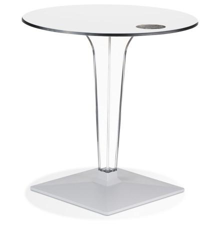 Table de terrasse ronde 'VOCLUZ' blanche intérieur/extérieur - Ø 68 cm