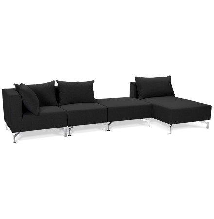 Grand canapé d'angle 'VOLTAIRE XL' noir - Canapé modulable (angle au choix)