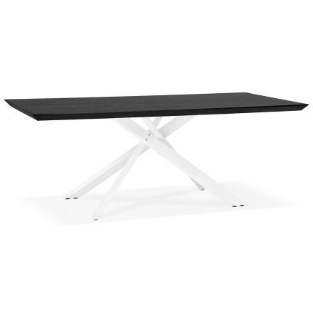 Table à diner design 'WALABY' en bois noir avec pied central en x blanc - 200x100 cm