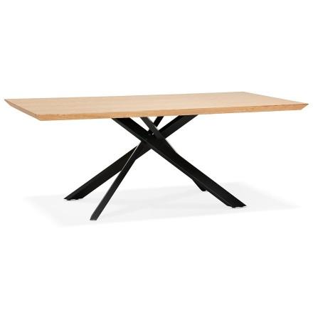 Table à diner avec pied central en x 'WALABY' en bois finition naturelle - 200x100 cm