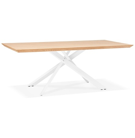 Table à diner 'WALABY' en bois finition naturelle avec pied central en x blanc - 200x100 cm