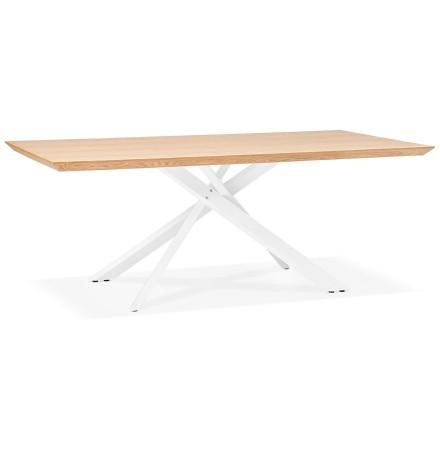 Table à diner 'WALABY' en bois finition naturelle avec pied central en x blanc - 200x100 cm