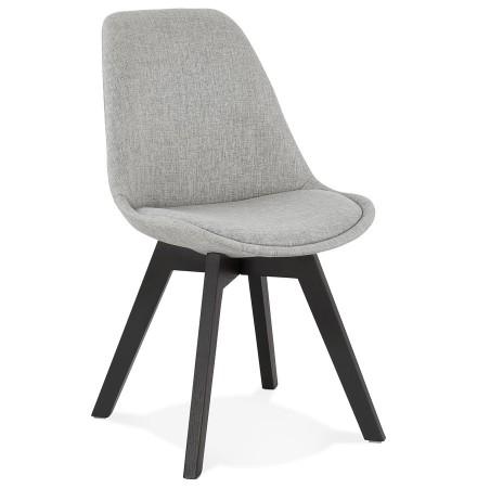Chaise design 'WILLY' en tissu gris avec pieds en bois noir