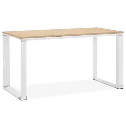 Petit bureau droit design 'XLINE' en bois finition naturelle et métal blanc - 140x70 cm