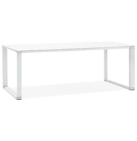 Grand bureau de direction droit 'XLINE' en verre blanc - 200x100 cm