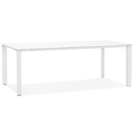 Table de réunion / à manger design 'XLINE' en verre blanc - 200x100 cm