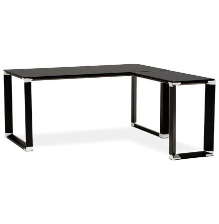 Bureau d'angle design 'XLINE' en verre noir (angle au choix)