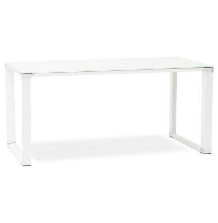 Petit bureau droit design 'XLINE' en verre blanc - 140x70 cm