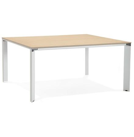 Table de réunion / bureau bench 'XLINE SQUARE' en bois finition naturelle et métal blanc - 160x160 cm