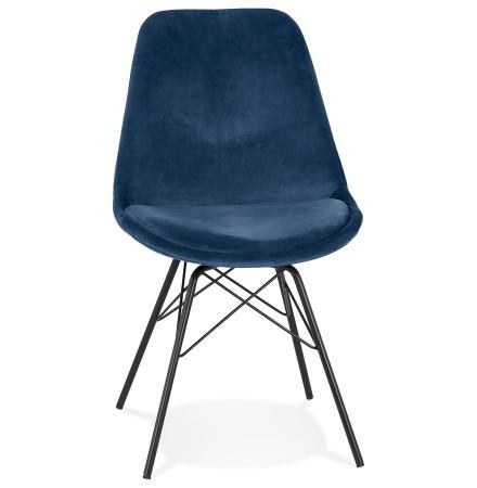 Chaise design 'ZAZY' en velours bleu et pieds en métal noir