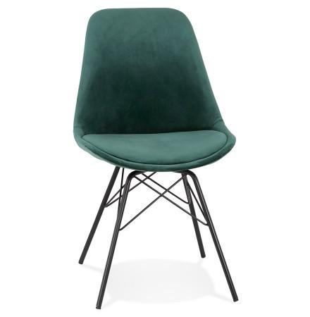 Chaise design 'ZAZY' en velours vert et pieds en métal noir