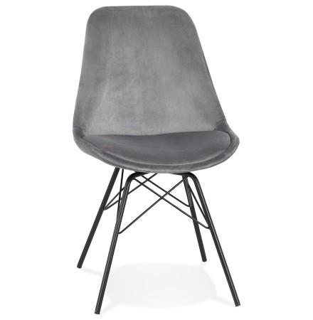 Chaise design 'ZAZY' en velours gris et pieds en métal noir