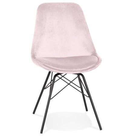 Chaise design 'ZAZY' en velours rose et pieds en métal noir