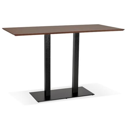 Table haute design 'ZUMBA BAR' en bois finition Noyer avec pied en métal noir - 180x90 cm