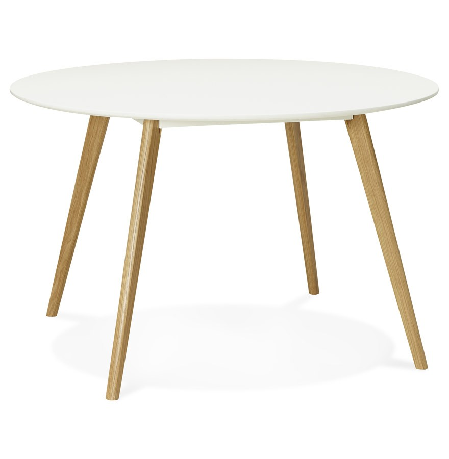 Table de cuisine ronde amy blanche style scandinave for Table ronde extensible scandinave