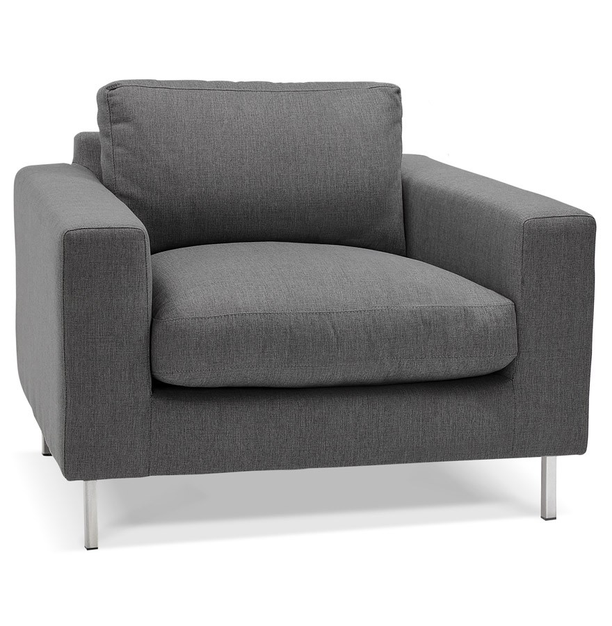 fauteuil de salon 1 place moderne augustin mini en tissu gris fonc. Black Bedroom Furniture Sets. Home Design Ideas