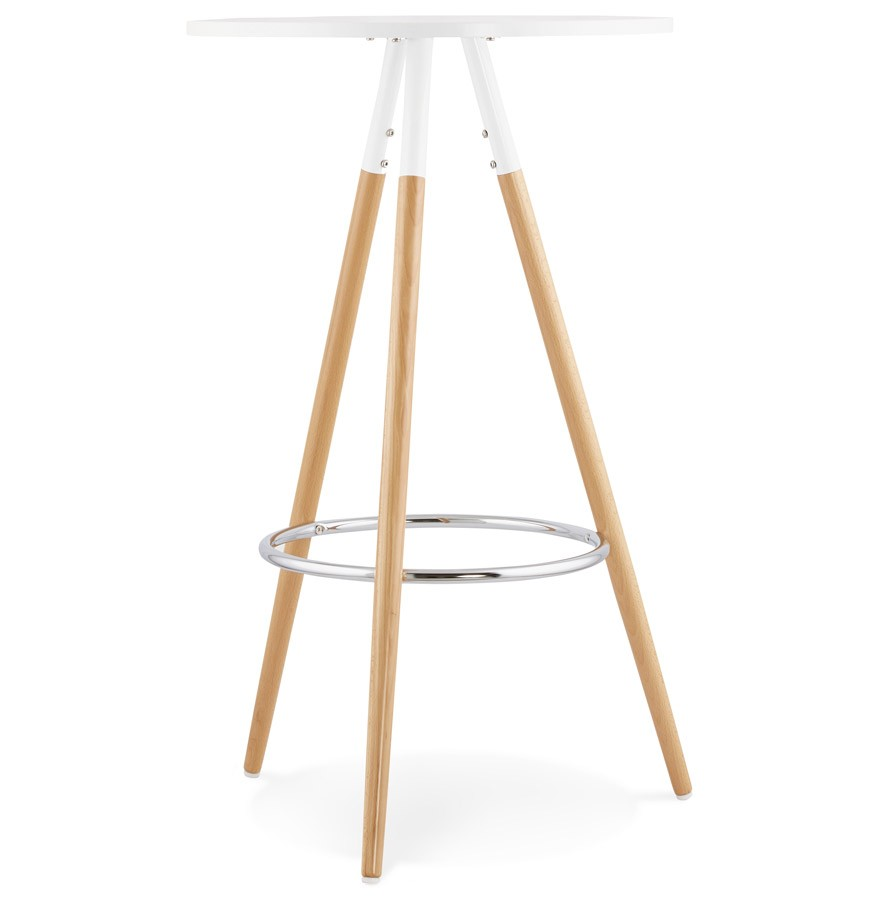 Table haute ronde bary en bois blanc mange debout design for Table de bar bois