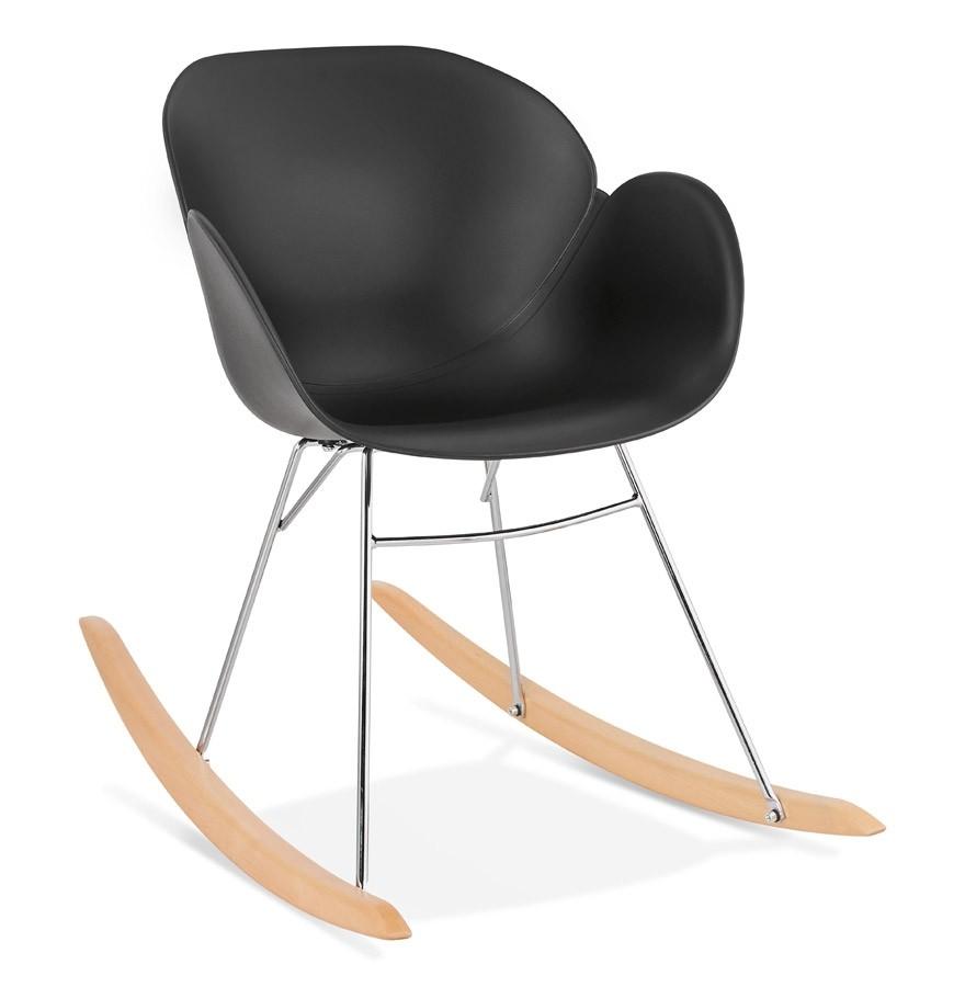 Chaise bascule design baskul noire en mati re plastique for Chaise en plastique design