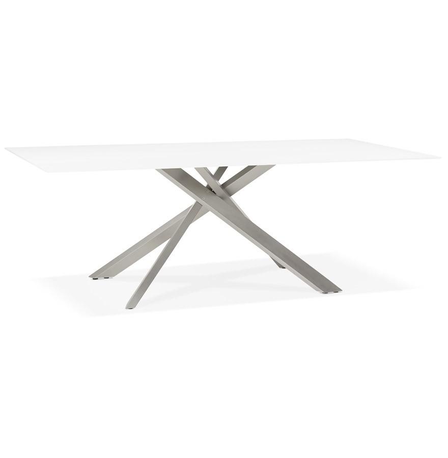 Table à Diner Design Birdy En Verre Blanc Avec Pied Central En Métal 200x100 Cm