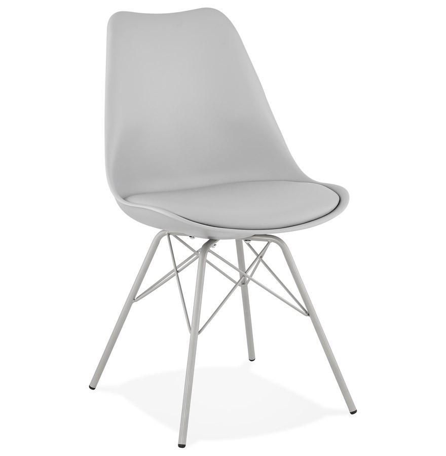 chaise design byblos grise style industriel. Black Bedroom Furniture Sets. Home Design Ideas