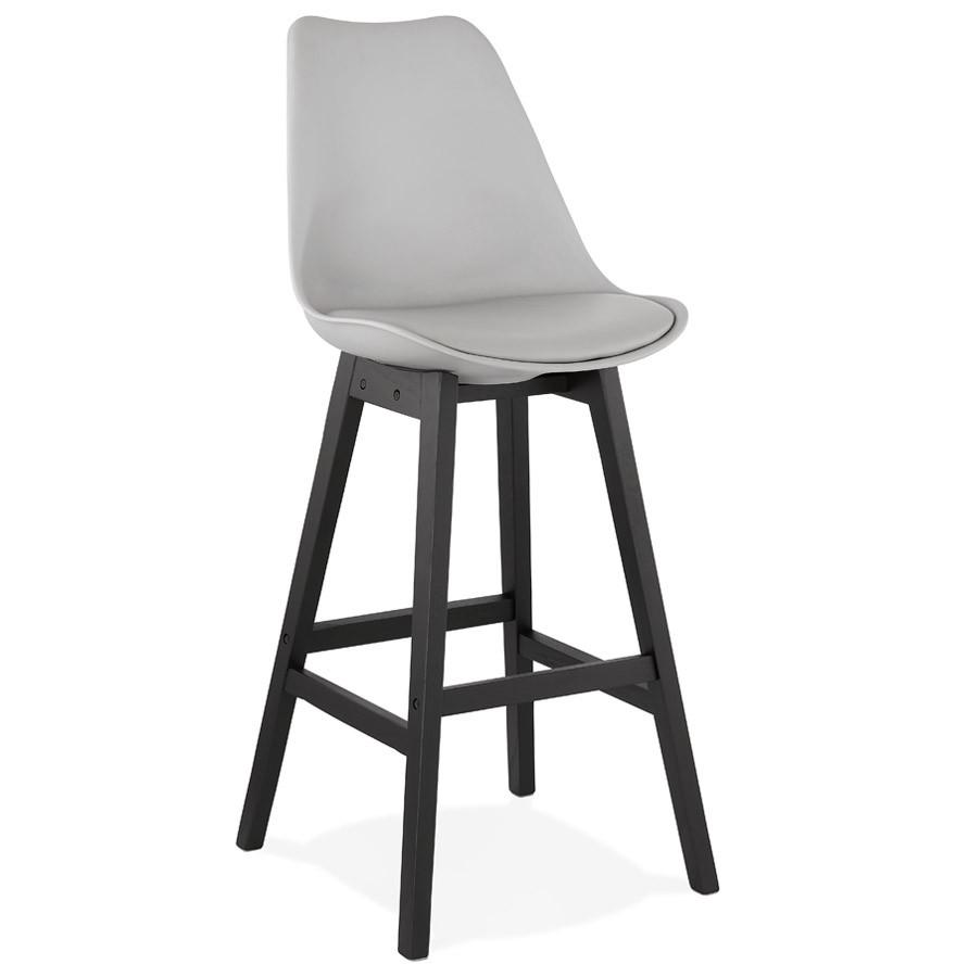 tabouret de bar camila gris avec pied en bois noir. Black Bedroom Furniture Sets. Home Design Ideas