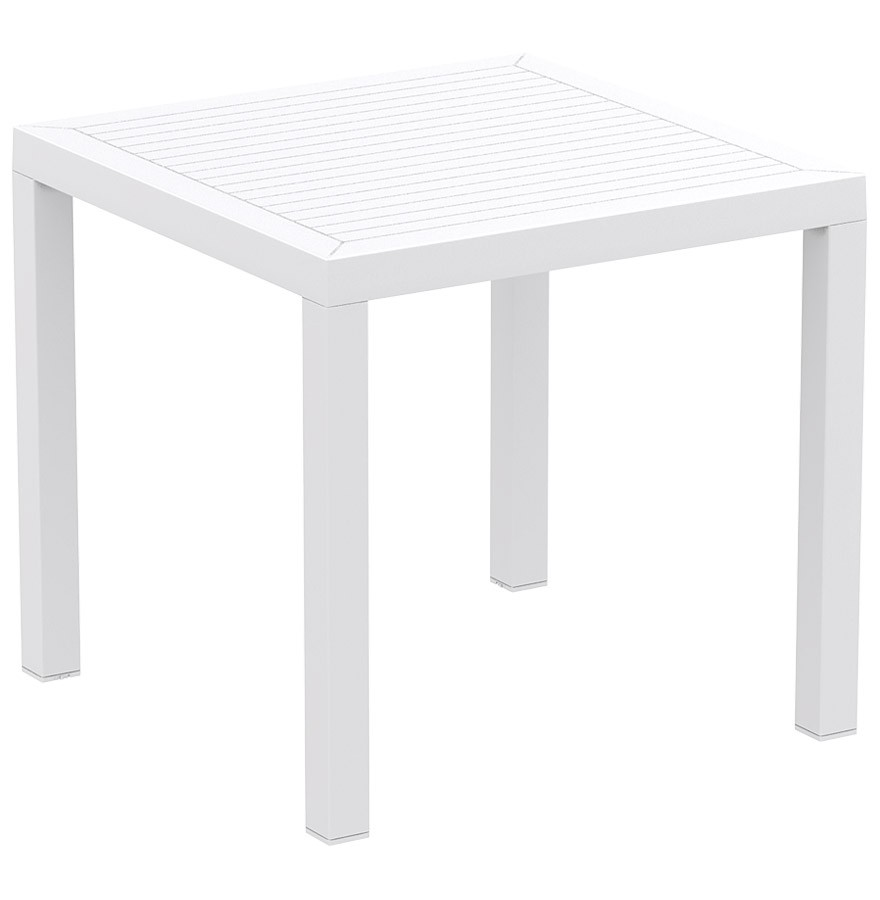 Table de terrasse cantina design blanche 80x80 cm - Table terrasse plastique ...