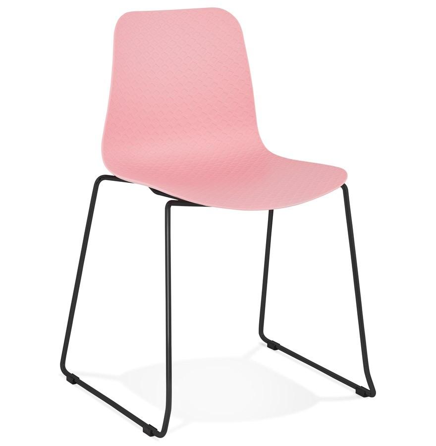 Chaise moderne expo rose avec pieds en m tal noir for Chaise metal noir