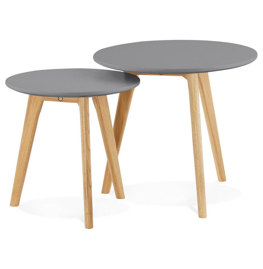 Tables gigognes ronde gaby grises fonc es table d 39 appoint - Tables gigognes fly ...