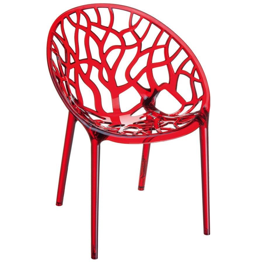 Chaise moderne originale geo rouge transparente chaise arbre for Chaise plastique design