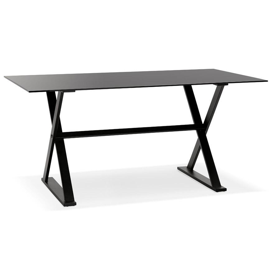 table bureau avec pieds en croix havana en verre noir 160x80. Black Bedroom Furniture Sets. Home Design Ideas
