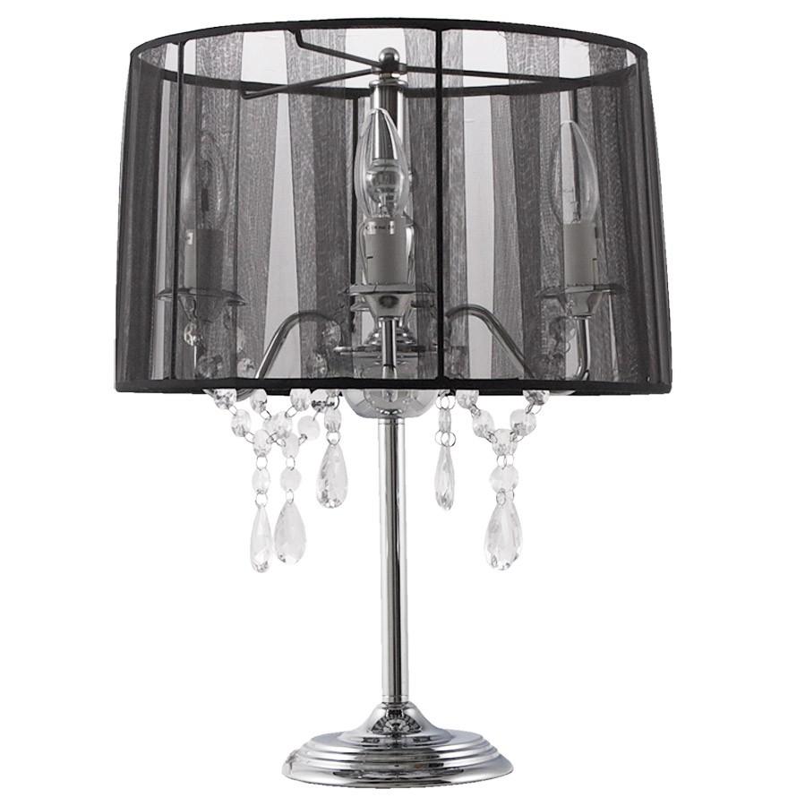 'klassik' Noire Pampilles De À Lampe Chevet Chandelier Baroque 3L54ARj
