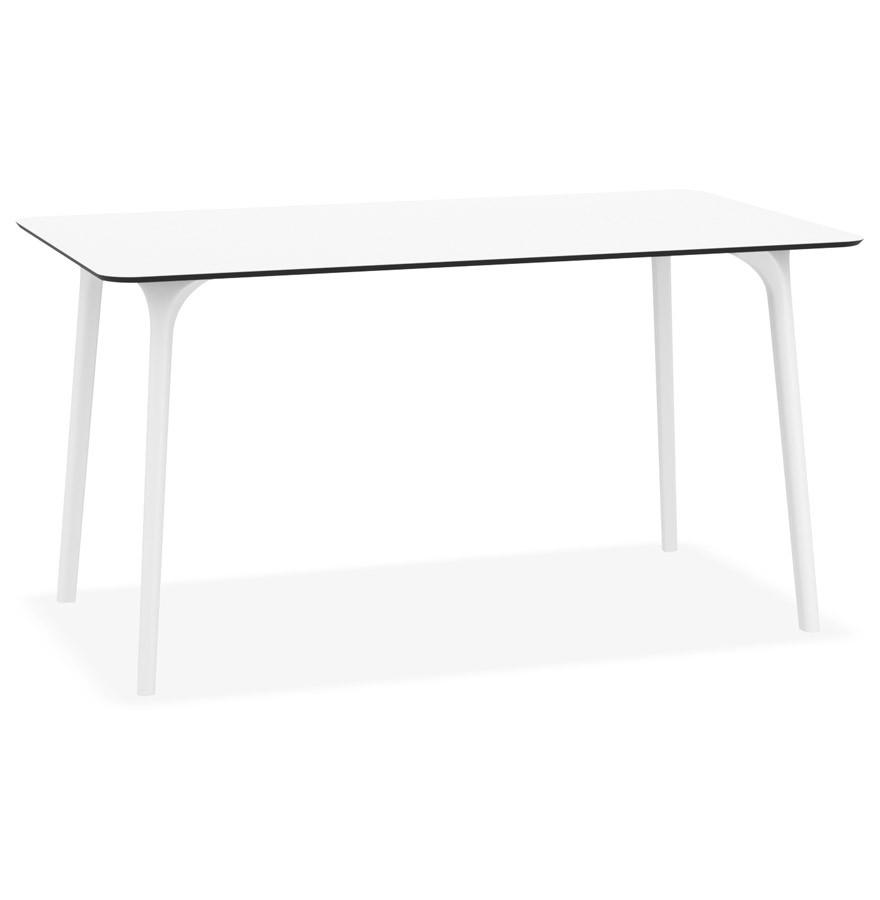Table de jardin design \'LAGOON\' blanche intérieur / extérieur - 140x80 cm