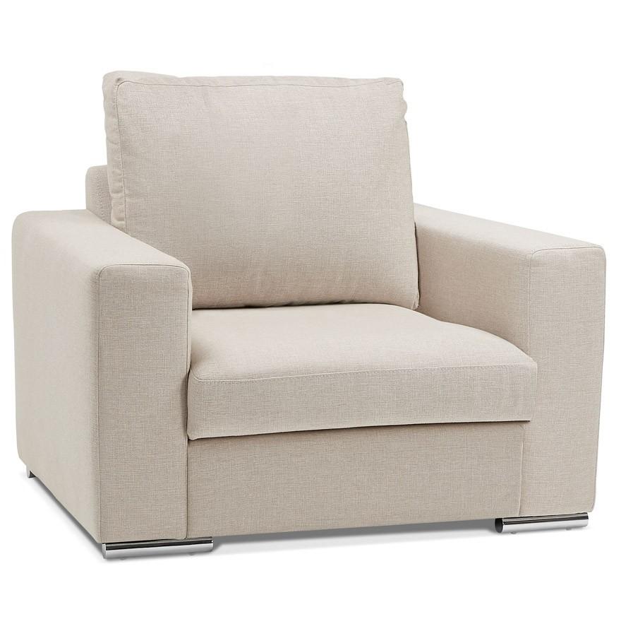 large fauteuil de salon 1 place luca mini en tissu beige. Black Bedroom Furniture Sets. Home Design Ideas