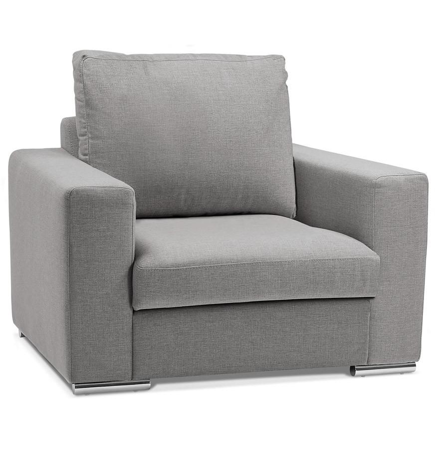 fauteuil de salon 1 place LUCA MINI en tissu gris clair
