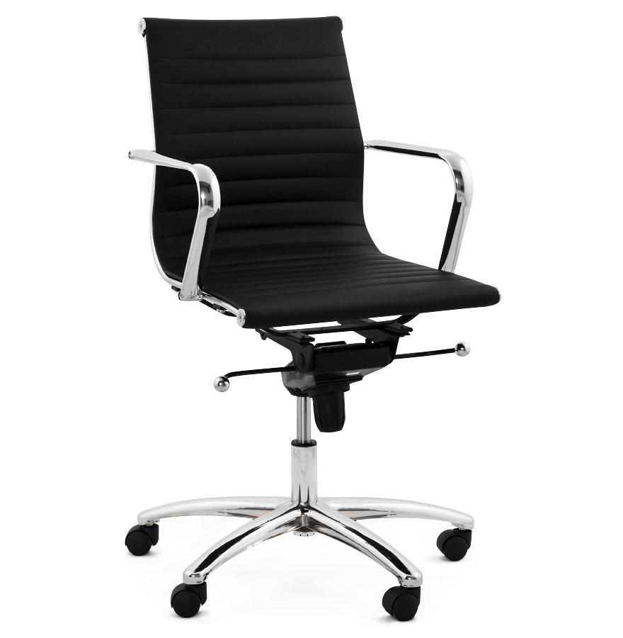 Fauteuil de bureau design mega en similicuir noir for Chaise bureau design