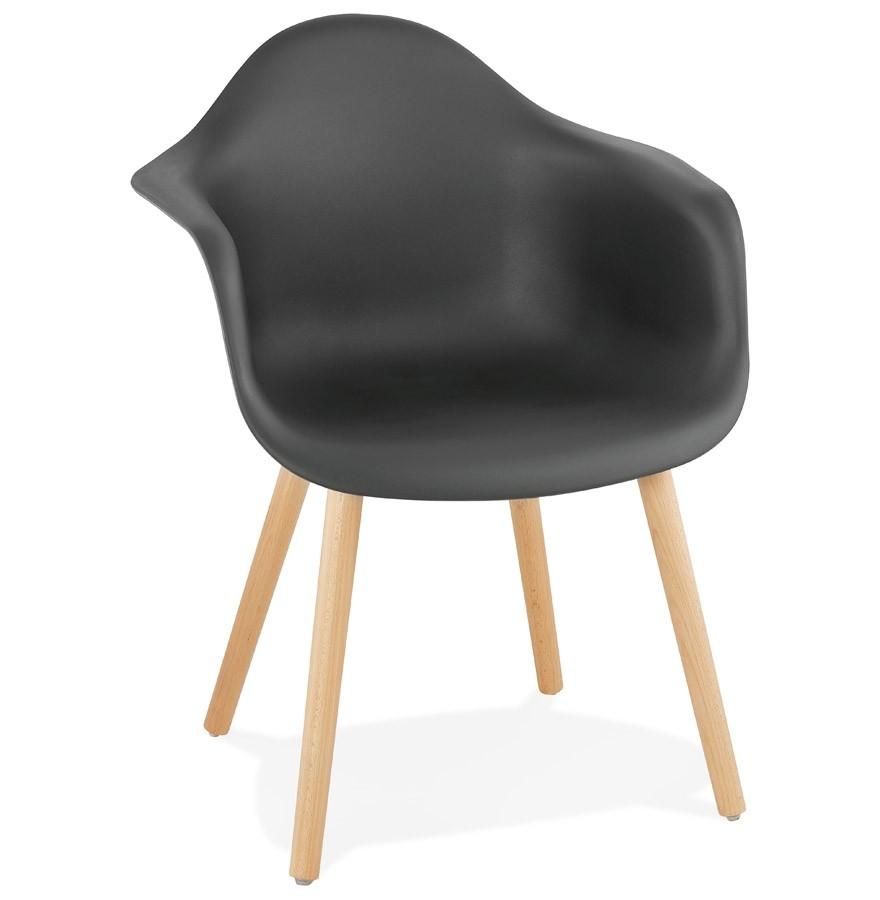 Chaise Avec Accoudoirs OLIVIA Noire Style Scandinave