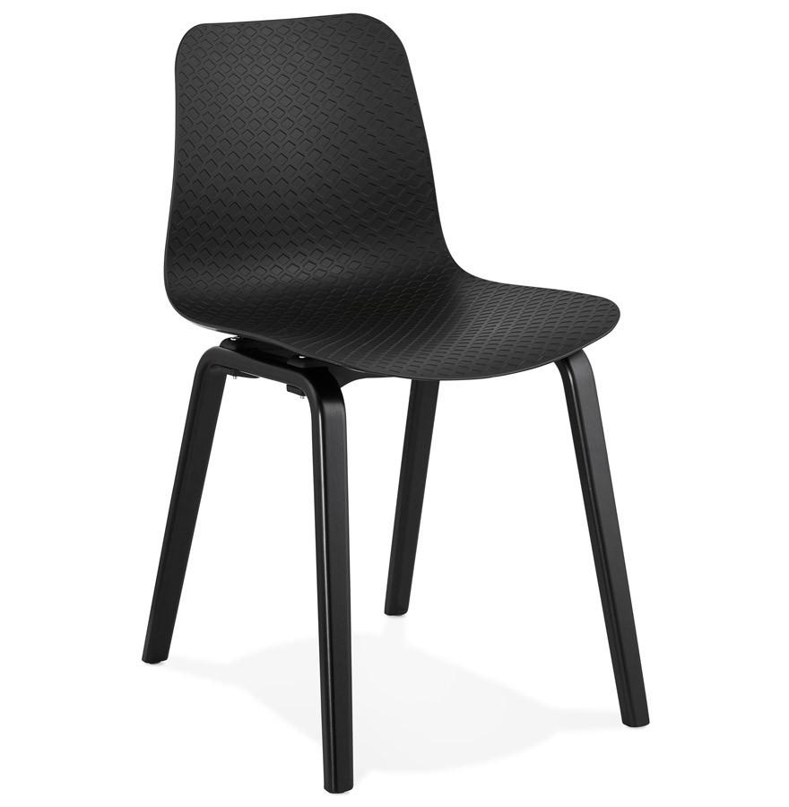 chaise design pacifik noire avec pieds en bois noir. Black Bedroom Furniture Sets. Home Design Ideas