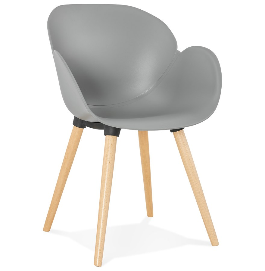 Chaise design scandinave picata grise avec pieds en bois for Chaise avec pied en bois
