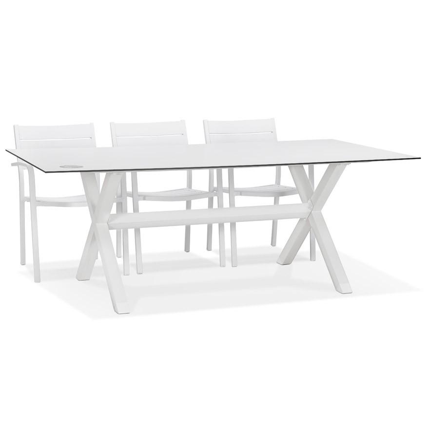 Table de jardin design \'PORTO\' blanche avec pied en X