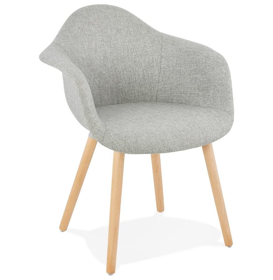 Chaise Design Avec Accoudoirs RAMBLA En Tissu Gris