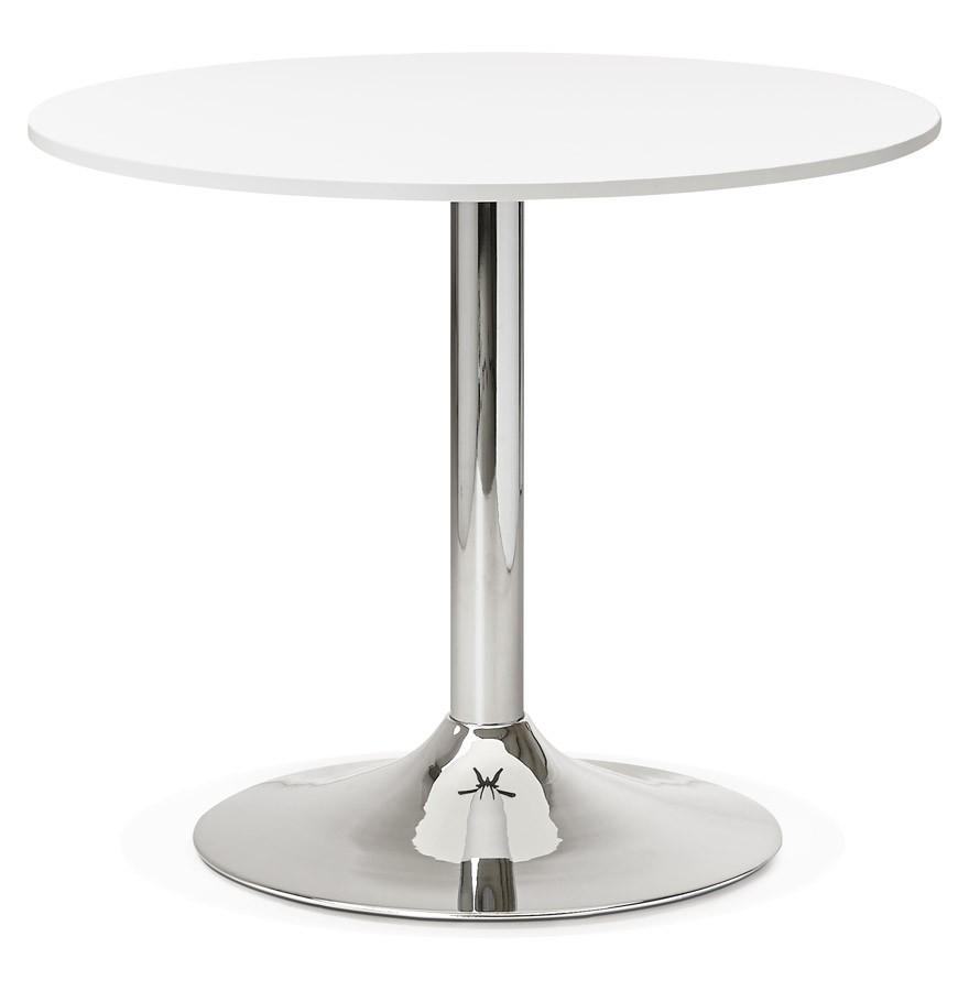 table de bureau ronde blanche saopolo 90 cm table diner. Black Bedroom Furniture Sets. Home Design Ideas