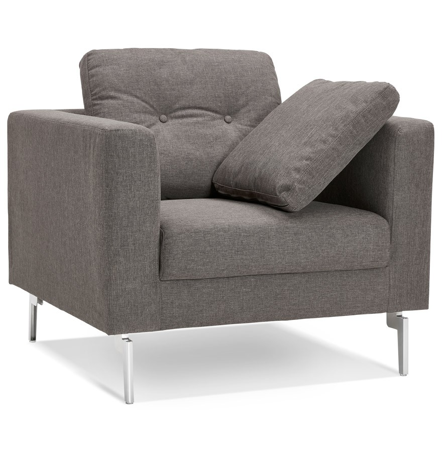 fauteuil de salon 1 place sixty mini en tissu gris tr s moderne. Black Bedroom Furniture Sets. Home Design Ideas