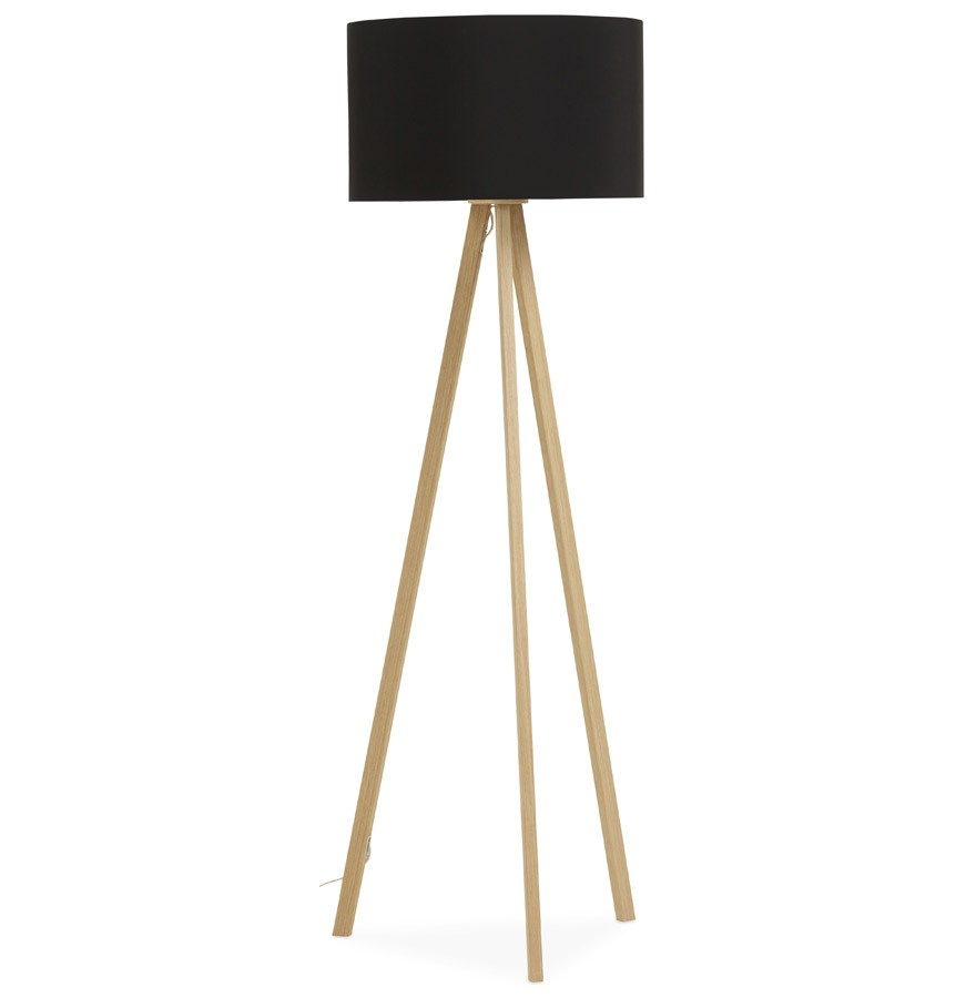 lampadaire tr pied spring noir et bois luminaire design. Black Bedroom Furniture Sets. Home Design Ideas