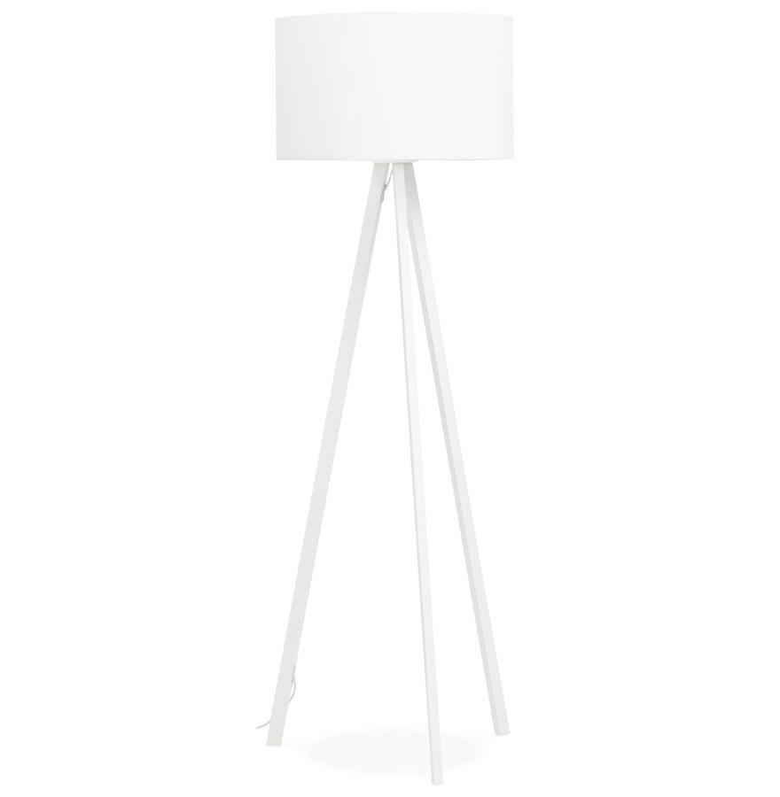 Lampadaire trépied 'SPRING' avec abat jour blanc et 3 pieds blancs