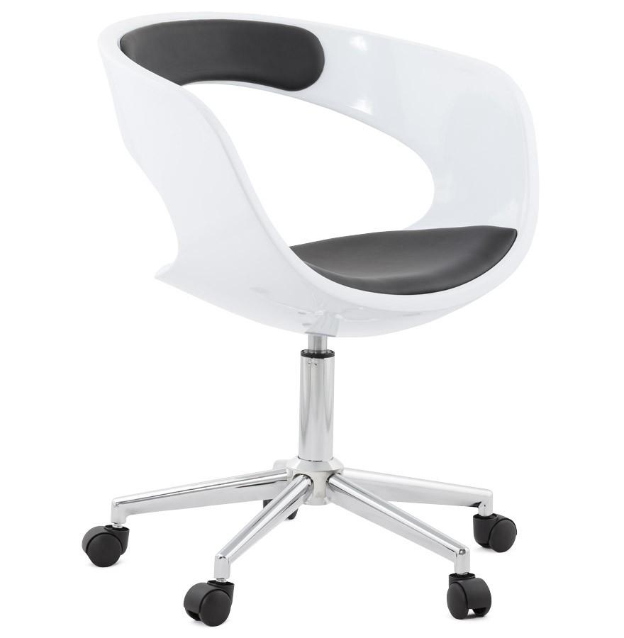 Chaise de bureau design strato blanche et noire sur roulettes - Chaise noire et blanche ...