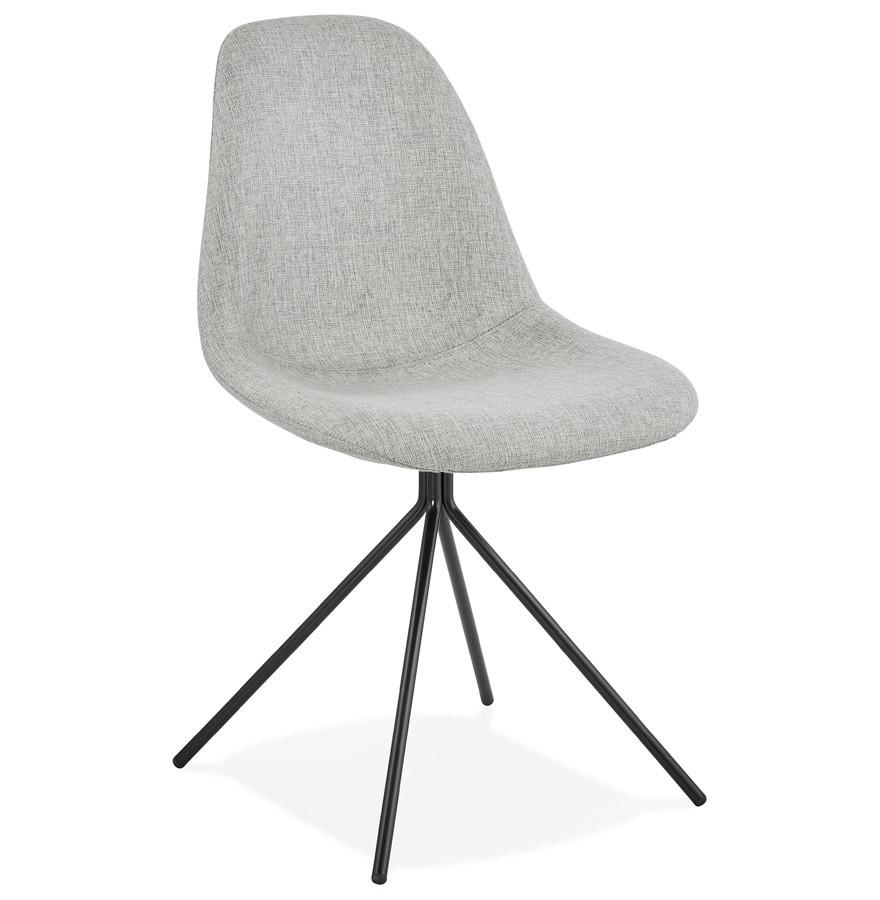 chaise design tamara en tissu gris avec pied en m tal noir. Black Bedroom Furniture Sets. Home Design Ideas