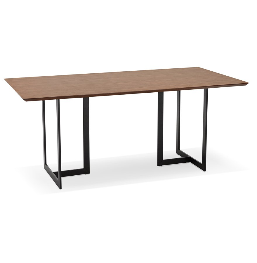Table design titus en bois de noyer bureau moderne 180x90 cm for Table bureau design