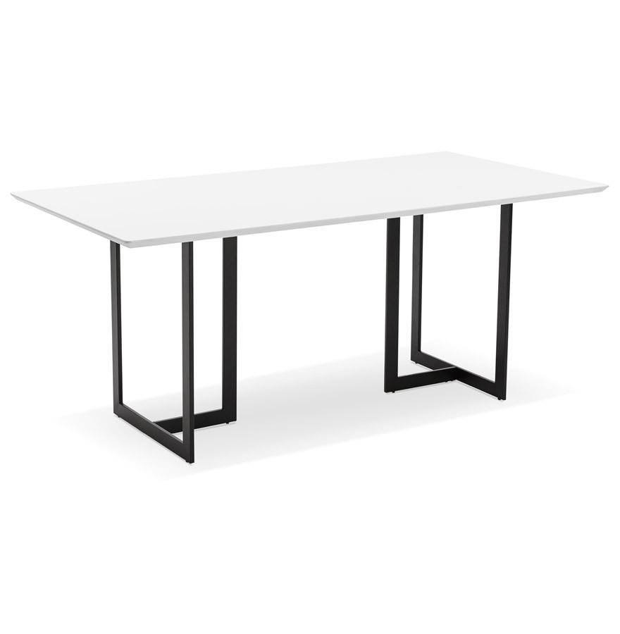 Table design titus en bois blanc bureau moderne 180x90 cm for Table bureau bois