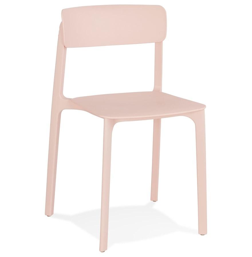 Chaise intérieur / extérieur empilable \'TROPICAL\' en matière plastique rose  pastel